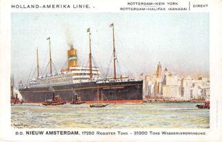 Ansichtkaart Rotterdam d.d. Nieuw Amsterdam in New York Holland America Line Scheepvaart Schepen HC27476