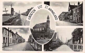 Ansichtkaart Sint Annaland Groeten uit 1941 Dorpsweg Molen Voorstraat Ned. Herv. Kerk Nieuwstraat HC27520