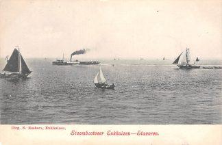 Ansichtkaart Enkhuizen - Stavoren Stoomboot veer IJsselmeer Zuiderzee 1910 Binnenvaart schepen Scheepvaart HC27541