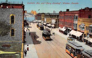 Ansichtkaart Canada Ouelette Ave. and Ferry Landing Windsor Tram Noord-Amerika Andere zijde: Reclame Expl. van Zuivelinrichtingen Aurora Zuidwal Den Haag HC27620