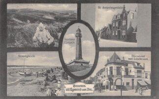 Ansichtkaart Egmond aan Zee Groeten uit 1925 Vuurtoren St. Antoniusgesticht Strand Dorpstraat met Lunchroom HC27622