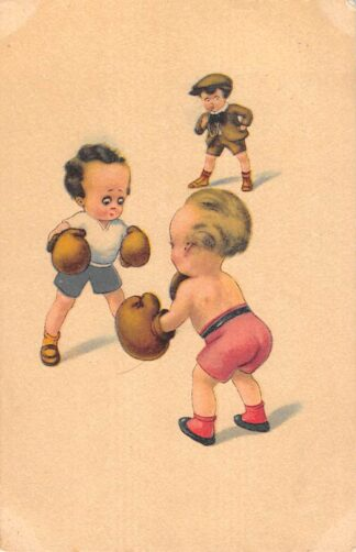 Ansichtkaart Fantasie Boksende kinderen Sport Humor Cartoon 1924 HC27659