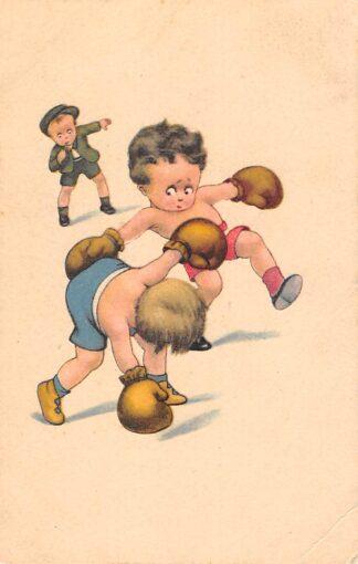 Ansichtkaart Fantasie Boksende kinderen Sport Humor Cartoon 1924 HC27660