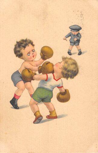 Ansichtkaart Fantasie Boksende kinderen Sport Humor Cartoon 1924 HC27661