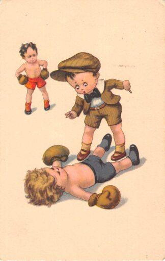 Ansichtkaart Fantasie Boksende kinderen Knock out! Sport Humor Cartoon 1924 HC27662