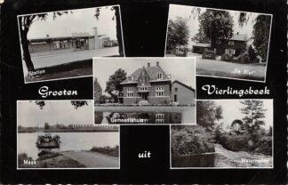 Ansichtkaart Vierlingsbeek Groeten uit 1963 Station Gemeentehuis De Klef Maas met veer pont Watermolen Boxmeer HC27865