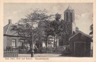 Ansichtkaart Rijnsaterwoude Rijnzaterwoude Ned. Hervormde Kerk met School HC27880