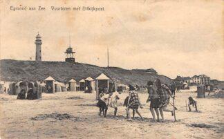 Ansichtkaart Egmond aan Zee Vuurtoren met Uitkijkpost Strand HC27888