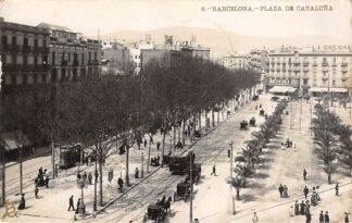 Ansichtkaart Spanje Barcelona Plaza de Cataluna Tram Fotokaart 1908 España Spain Europa HC28024