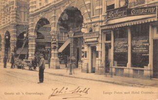 Ansichtkaart 's-Gravenhage Lange Poten met Hotel Centrale en The Continental Bodega Company 1902 HC28049
