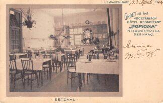 Ansichtkaart 's-Gravenhage Groet uit het Vegetarisch Hotel Restaurant Pomona Nieuwstraat 24 Den Haag Eetzaal 1904 HC28229