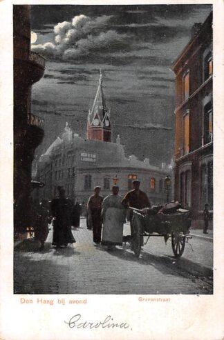 Ansichtkaart 's-Gravenhage Den Haag bij avond Gravenstraat 1900 HC28233