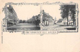 Ansichtkaart Breda en Ginneken Markt te Breda en Markt te Ginneken HC28322
