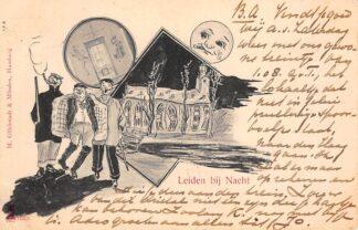Ansichtkaart Leiden bij Nacht 1905 Humor HC28491