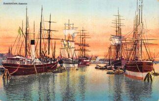 Ansichtkaart Amsterdam Oosterdok met zee schepen Scheepvaart 1916 HC28561