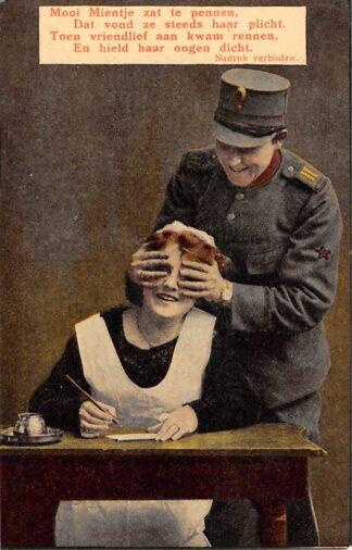 Ansichtkaart Militair Mobilisatie WO1 1914-1918 Mooi Mientje zat te pennen Humor HC28692