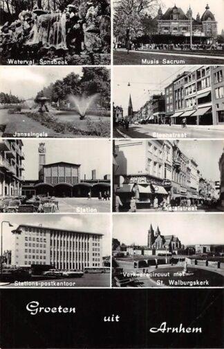 Ansichtkaart Arnhem Groeten uit 1968 Waterval Sonsbeek Janssingels Station Postkantoor Musis Sacrum Steenstraat Ketelstraat Verkeerscircuut met St. Walburgskerk HC28693