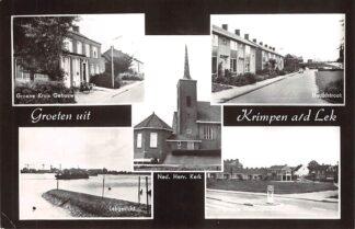 Ansichtkaart Krimpen aan de Lek Groeten uit 1969 Groene Kruisgebouw Hoofdstraat Ned. Herv. Kerk Lekgezicht en Oranje Nassauplein HC28818