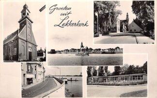 Ansichtkaart Lekkerkerk Groeten uit 1961 Vijfluik Lek Veerpont Kerk Dijk en School HC28834