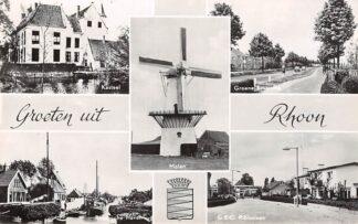 Ansichtkaart Rhoon Groeten uit 1965 Molen Kasteel Groene Kruisweg Rhoonsche Haven G.E.C. Ribiuslaan HC28896
