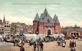 Ansichtkaart Amsterdam Nieuwmarkt met Oude Waag en Vischmarkt Markt HC29054