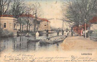 Ansichtkaart Leiderdorp Brug over de Rijn Kleinrondstempel 1903 HC29104