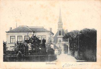 Ansichtkaart Leiderdorp Brug en Kerk Kleinrondstempel 1901. HC29118