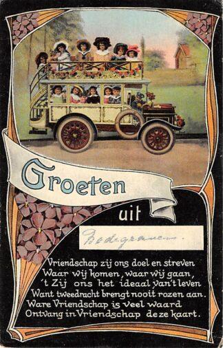 Ansichtkaart Bodegraven Groeten uit 1919 Bus met kinderen HC29156