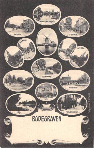 Ansichtkaart Bodegraven 14-luik Kerkplein Rijn v. Tolstraat Molen Noordstraat Goudscheweg Willemstraat Marktplein HC29159