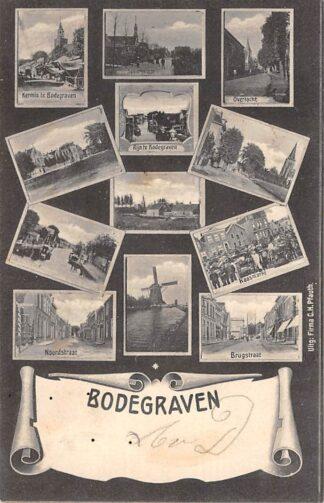Ansichtkaart Bodegraven 12-luik Kermis Noordstraat Molen Brugstraat Rijn Spoorstraat Overtocht Kaasmarkt Kleinrondstempel 1905 HC29160