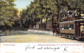 Ansichtkaart 's-Gravenhage Scheveningscheweg b.h. Hotel de la Promenade Paardentram HTM Tram 1904 HC29173