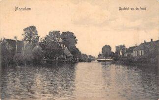 Ansichtkaart Maasdam Gezicht op de brug 1919 Hoeksche Waard HC29244