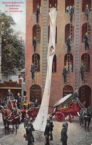 Ansichtkaart Amsterdam Amsterdamsche Brandweer Redkoker en klimoefening HC29265
