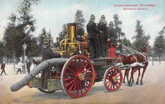 Ansichtkaart Amsterdam Amsterdamsche Brandweer Stoomspuit Gerberus met paard HC29277