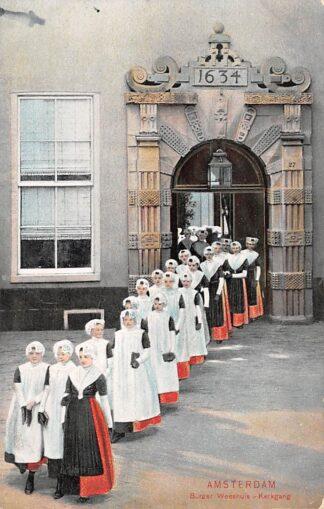 Ansichtkaart Amsterdam Burger Weeshuis Kerkgang Weesmeisjes Kind HC29296