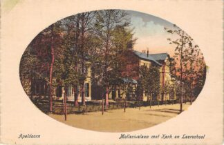 Ansichtkaart Apeldoorn Molleruslaan Molleriuslaan met Kerk en Leer school 1923 HC29380