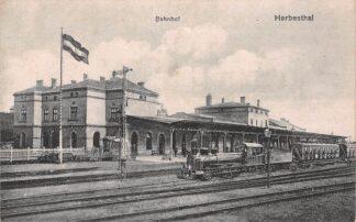 Ansichtkaart Duitsland België Herbesthal Bahnhof Douane Station met stoomtrein Spoorwegen Deutschland Europa Reclame Zeepfabriek De Klok Heerde HC29415