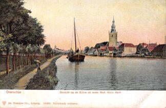 Ansichtkaart Rotterdam Overschie Gezicht op de Schie en toren Ned. Hervormde Kerk en binnenvaart schip HC29557
