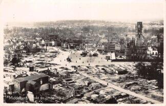 Ansichtkaart Middelburg Markt en Omgeving na Bombardement WO2 HC29584