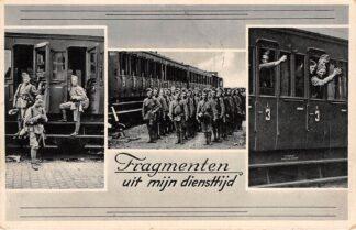 Ansichtkaart Militair Mobilisatie 1939 WO2 Fragmenten uit mijn diensttijd Soldaten in en bij de trein Spoorwegen HC29632