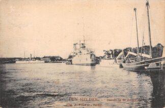 Ansichtkaart Den Helder Gezicht op de Buitenhaven met oorlogs schepen Marine 1915 Tulp HC29633