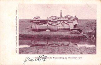 Ansichtkaart Nieuwerbrug aan de Rijn Spoorwegongeluk 23 December 1902 Spoorwegen Bodegraven Woerden Kleinrondstempel Wassenaar HC29721