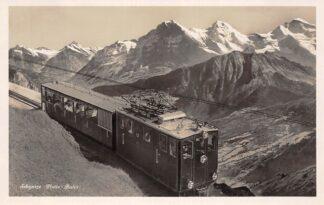 Ansichtkaart Zwitserland Schynige Platte-Bahn Wetterhorn Schreckhorn Eiger Monch u. Jungfrau Trein Spoorwegen Schweiz Suisse Switzerland Europa HC29784