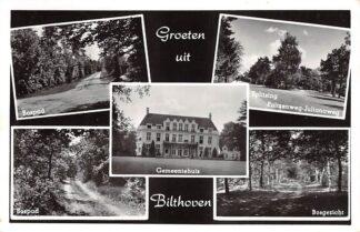 Ansichtkaart Bilthoven Groeten uit 1966 Bospad Gemeentehuis Splitsing Paltzenweg - Julianaweg Bosgezicht HC29887