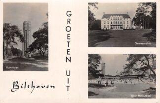 Ansichtkaart Bilthoven Groeten uit 1945 Watertoren Gemeentehuis Vijver Natuurbad Zwembad HC29906