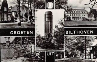 Ansichtkaart Bilthoven Groeten uit 1969 Julianalaan Natuurbad Watertoren Gemeentehuis Gezichtslaan Zwembad HC29907