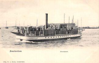 Ansichtkaart Amsterdam Stoompont Veer pont met volk Binnenvaart schepen Scheepvaart HC29945