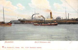 Ansichtkaart Amsterdam Het IJ Wilhelminadok 1904 Binnenvaart en zee schepen Scheepvaart HC29994