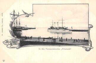 Ansichtkaart Den Helder H. Ms. Pantserdekschip Friesland Marine Scheepvaart HC30004