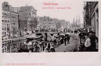 Ansichtkaart Amsterdam Linden Gracht Zatertagsche Brug met volk HC30015